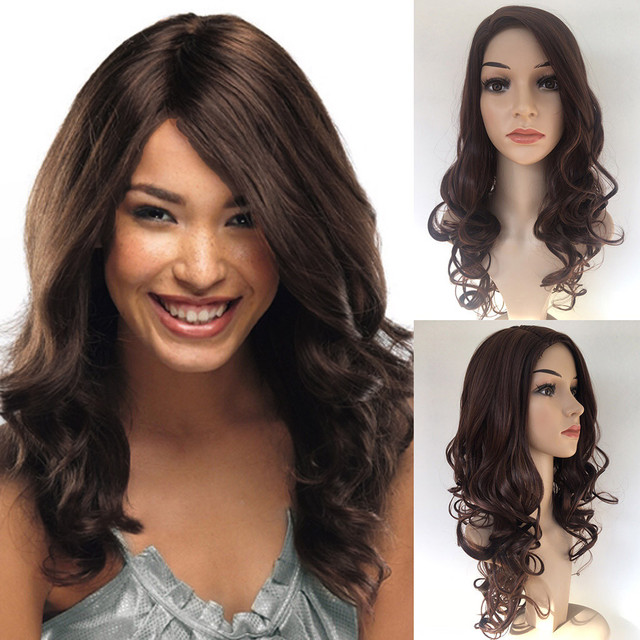 Bonnet Perruque Confection Fashion Synthetic Long Curly Brown