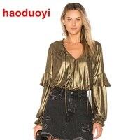 HDY Haoduoyi Women Tops Tees New Fashion Gold Long Sleeve T Shirt Women V Neck Lace
