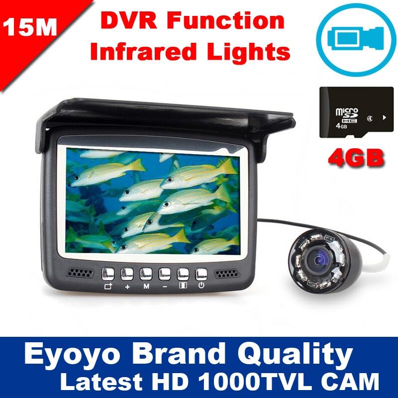 Date Mise À Jour Eyoyo 15 M Fish Finder Sous-Marine 1000TVL Glace De Pêche Enregistrement Vidéo Caméra DVR 8 infrarouge LED Pare-Soleil + 4G TFCard