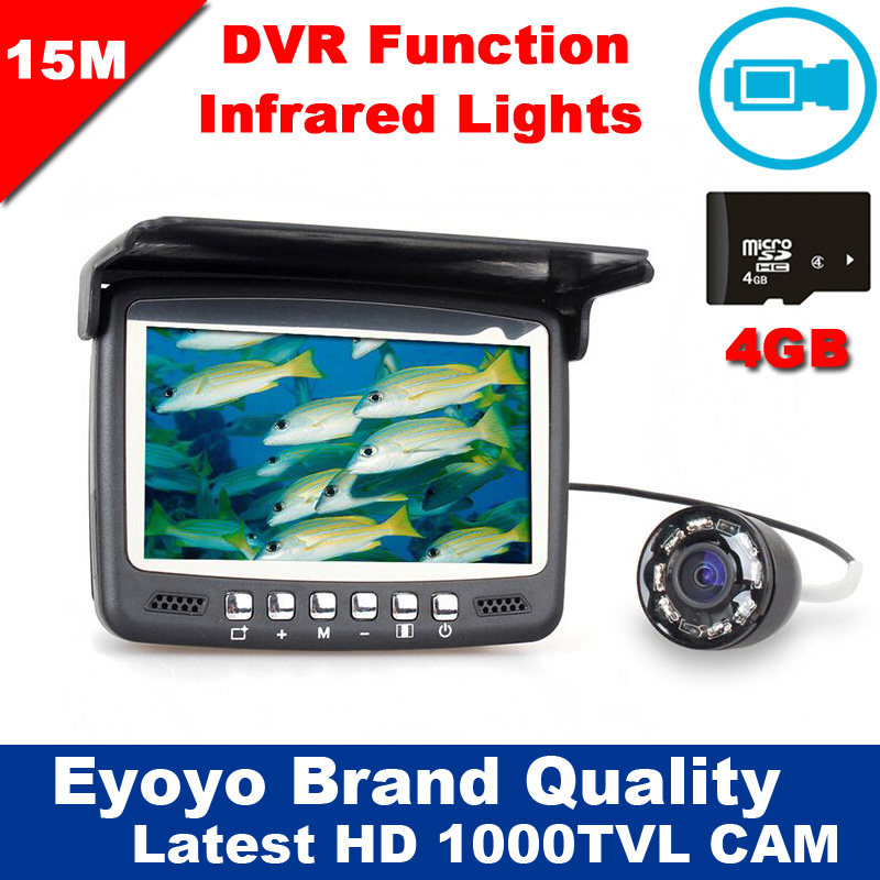 Newest Updated Eyoyo 15M Fish Finder Underwater 1000TVL Ice Fishing VIdeo Recording Camera DVR 8 infrared LED Sunvisor+4G TFCard аксессуар pitatel 12v tsb 039 mak12 33m для makita дополнительный аккумулятор