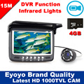 Newest Updated Eyoyo 15M Fish Finder Underwater 1000TVL Ice Fishing VIdeo Recording Camera DVR 8 infrared LED Sunvisor+4G TFCard