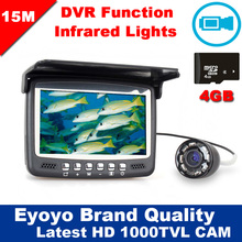 Newest Updated Eyoyo 15M Fish Finder Underwater 1000TVL Ice Fishing VIdeo Recording Camera DVR 8 infrared LED Sunvisor+4G TFCard