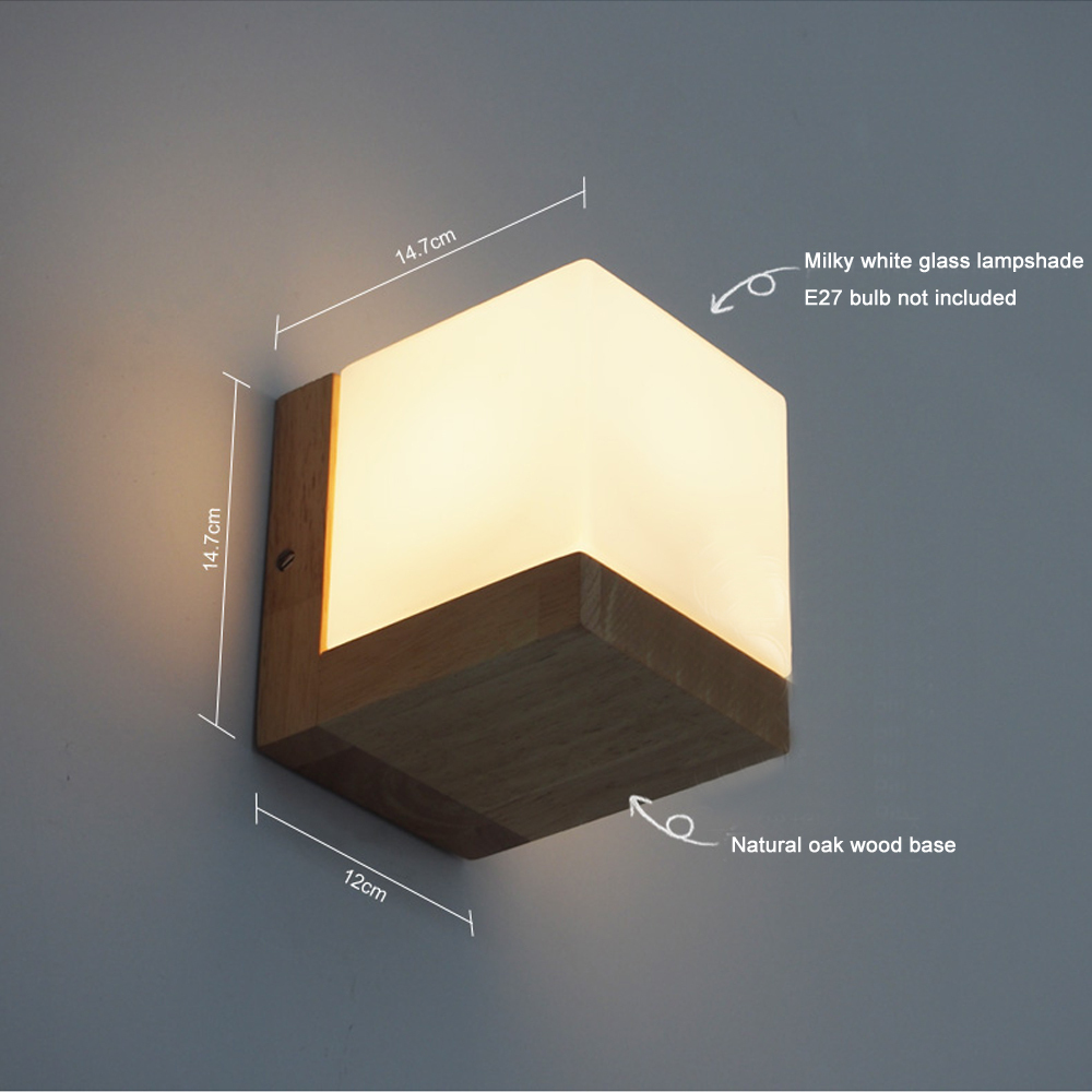 Simple Wooden Glass Wall Lamp Modern Led Wall Light Fixtures For Bedroom Indoor Home Lighting Bedside Wall Sconce Led Lamps