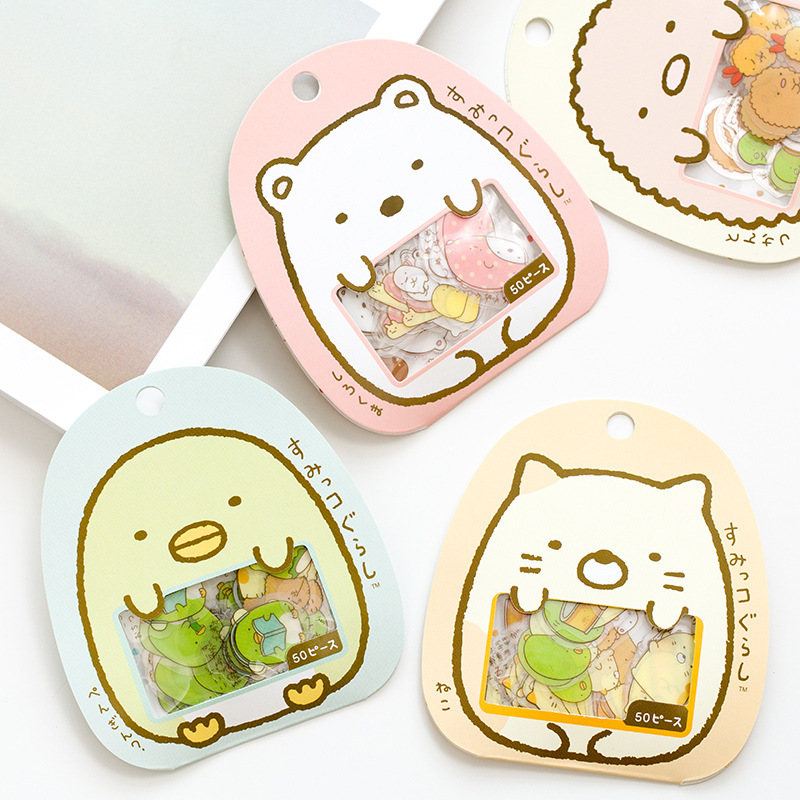 50pcs /Pack Cute Sumikko Gurashi DIY Decorative Sticker Stick Label Envelope Phone Bottle Decor Student Stationery Kid Gift