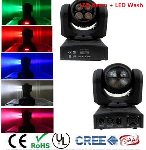 LED Beam + Wash Double Sides 4 x10W+1 x12W RGBW 15/21 Channel DMX 512 Rotating Moving Head Lighting for Indoor Disco Party