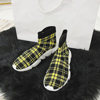 New Cotton Fabric Socks Women Ankle Boots Mixed Color Knitting Round Toe Slip On Casual Flats Shoes Zapatos Mujer Women Boots
