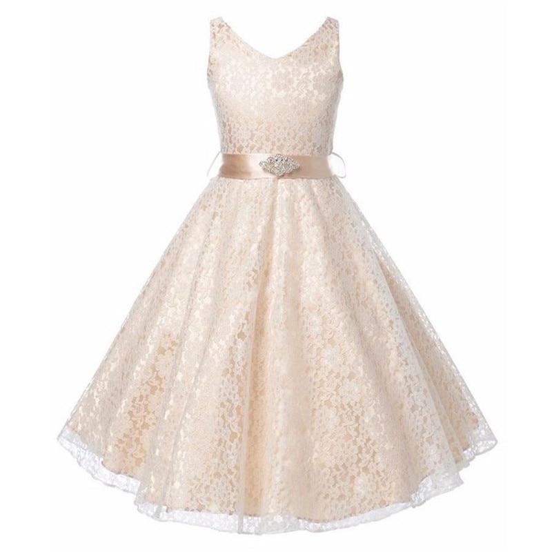 New Style Flower Girls Dresses Kids Lace Dresses With Rhinestone Sash Children Party Wedding Bridesmaid Clothing
