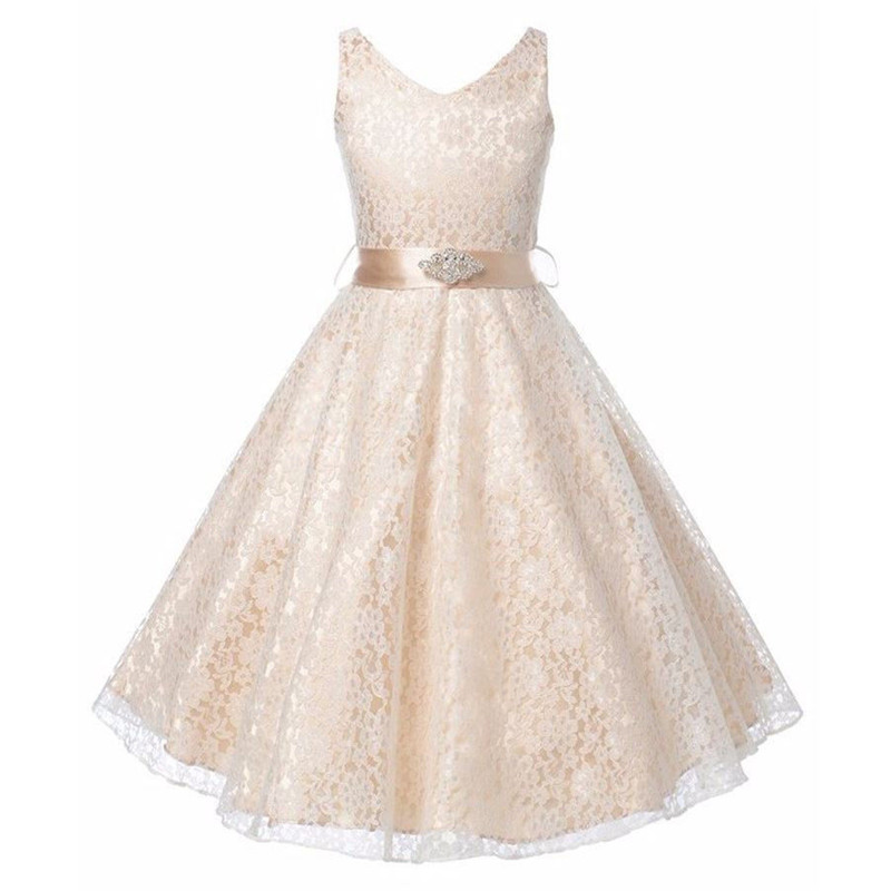 Nicoevaropa 2018 New Style Flower Girls Dresses Fashion Lace Dresses with Rhinestone Sash Kids Party Wedding Bridesmaid Clothes 4 15y little big girls clothes rustic flower girl wedding occasion junior bridesmaid kids cocktail dresses for 14 year girls