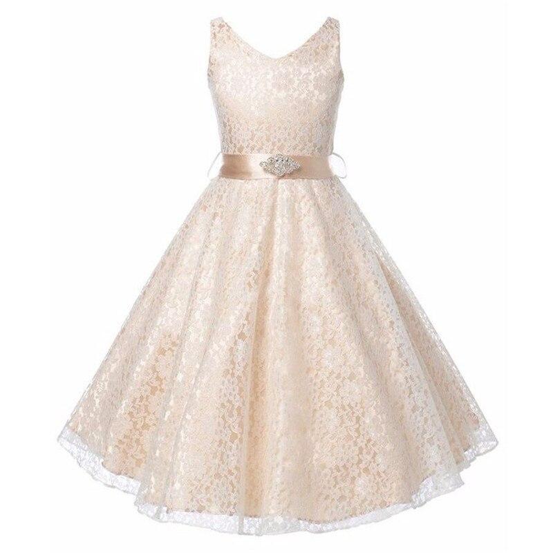 Nicoevaropa 2018 New Style Flower Girls Dresses Fashion Lace Dresses with Rhinestone Sash Kids Party Wedding Bridesmaid Clothes