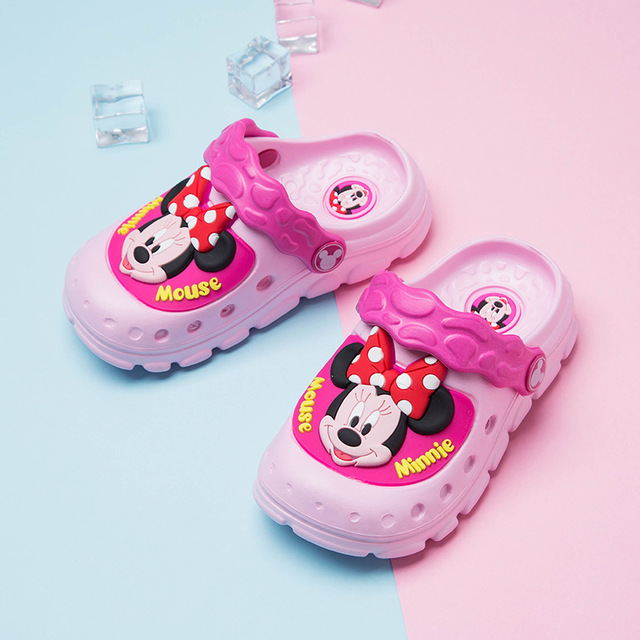 351e62c2925 US $18.66  Disney Shoes Girls Jelly Shoes Minnie Mouse Shoes Children  Barefoot Cartoon Slipper Baby boy Anti slippery Summer Flip Flops -in  Slippers ...