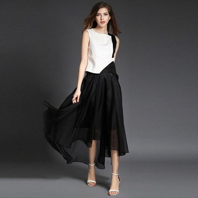 df93eef4d6 2 piece set women crop top and skirt set Sleeveless White Black Contrast  Color Linen waistcoat Chiffon long Skirt saia e blusa