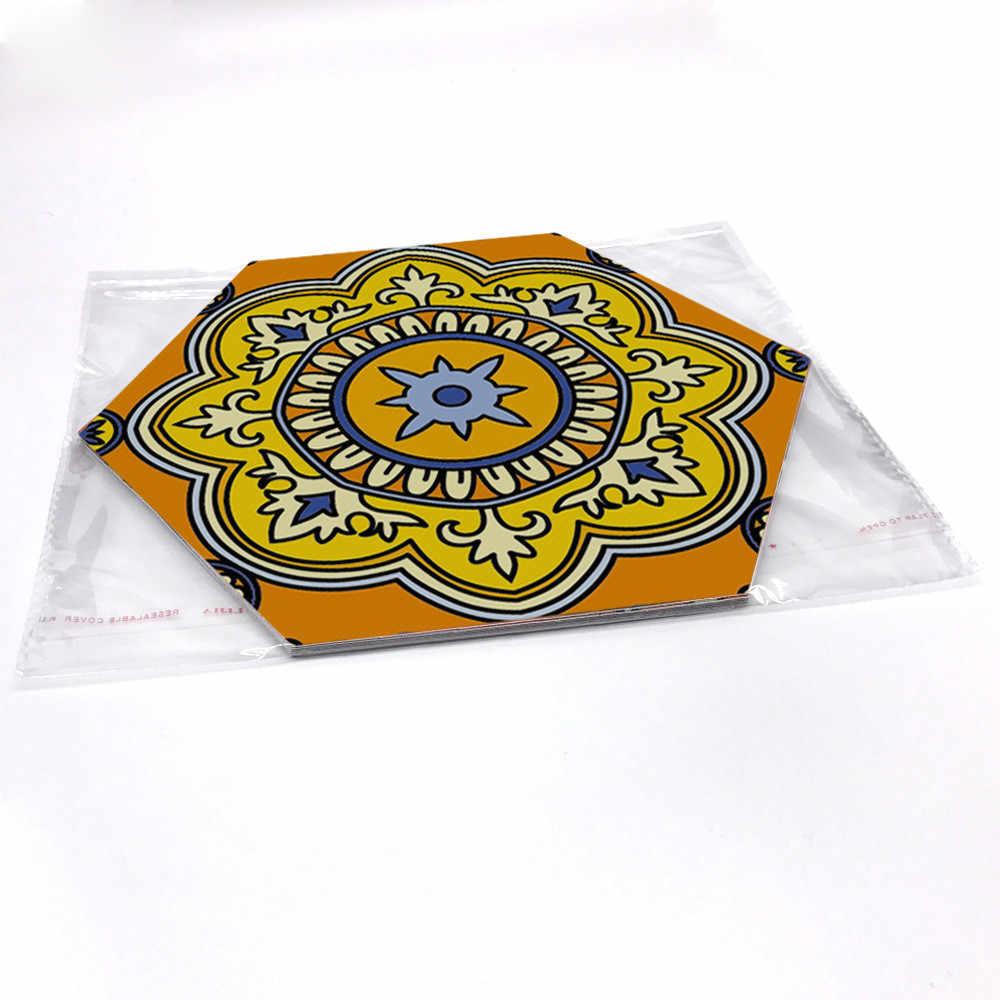 10 PCS Hình Lục Giác Phong Cách Ma-rốc Tầng Sticker Dán Gạch Tự LÀM Tự dính Hình Nền Cho Phòng Ngủ Sàn Phòng Tắm Không Thấm Nước Decal