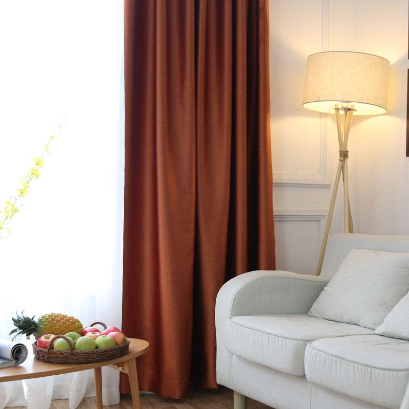 Silk Like Solid Dark Orange High Shading Curtains For