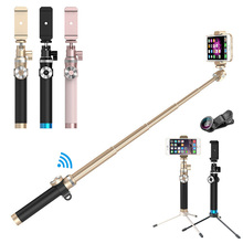 Aluminum alloy Extendable Handheld Bluetooth Selfie Stick Monopod with Tripod For Phone IPhone 5 6 6s 7 Samsung Huawei Xiaomi