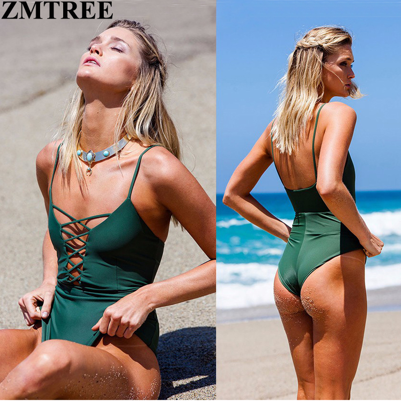 ZMTREE Brand 2017 Newest Bandage One Piece Swimsuit Sets Sexy Swimwear Women Lace Bodysuit Monokini Female