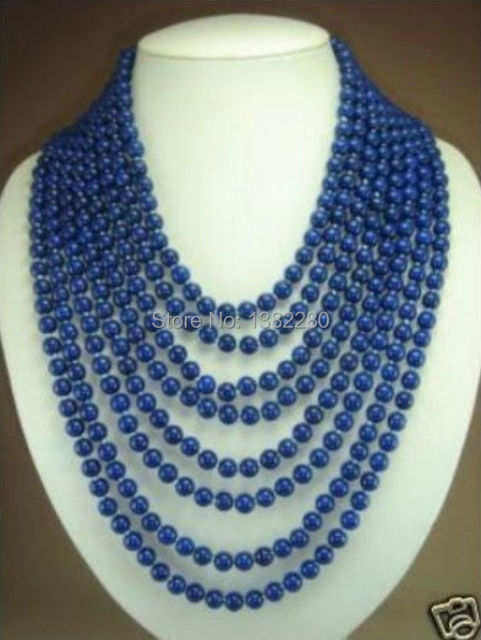"Free shipping! fashion DIY jewelry   AAA   8 rows 6mm blue lapis lazuli beads necklace 17-24""    JT6746"