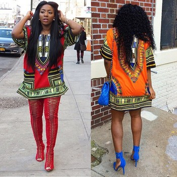 New Fashion Women African Dashiki O-neck Floral Patchwork Shirt Kaftan Boho Hippe Gypsy Festival Party Dress image