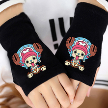 Anime One Piece Chopper Half Finger Cotton Knitting Wrist Gloves Mitten Lovers Accessories Cosplay Without Fingers Gift