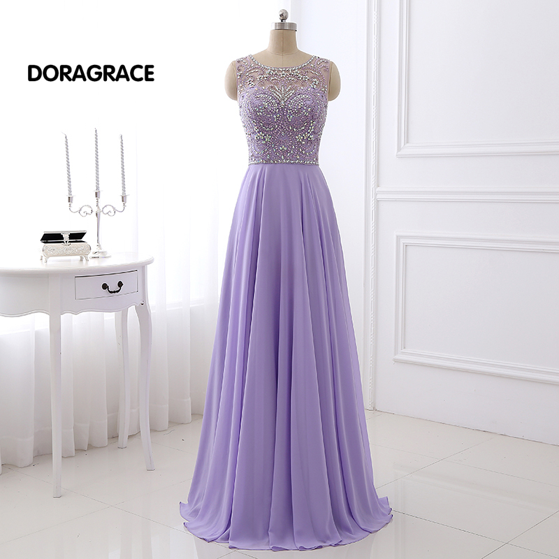 DORAGRACE Real Photos Romantic Beaded Chiffon Floor-Length Designer Prom Gowns Long Evening Dresses DGE063