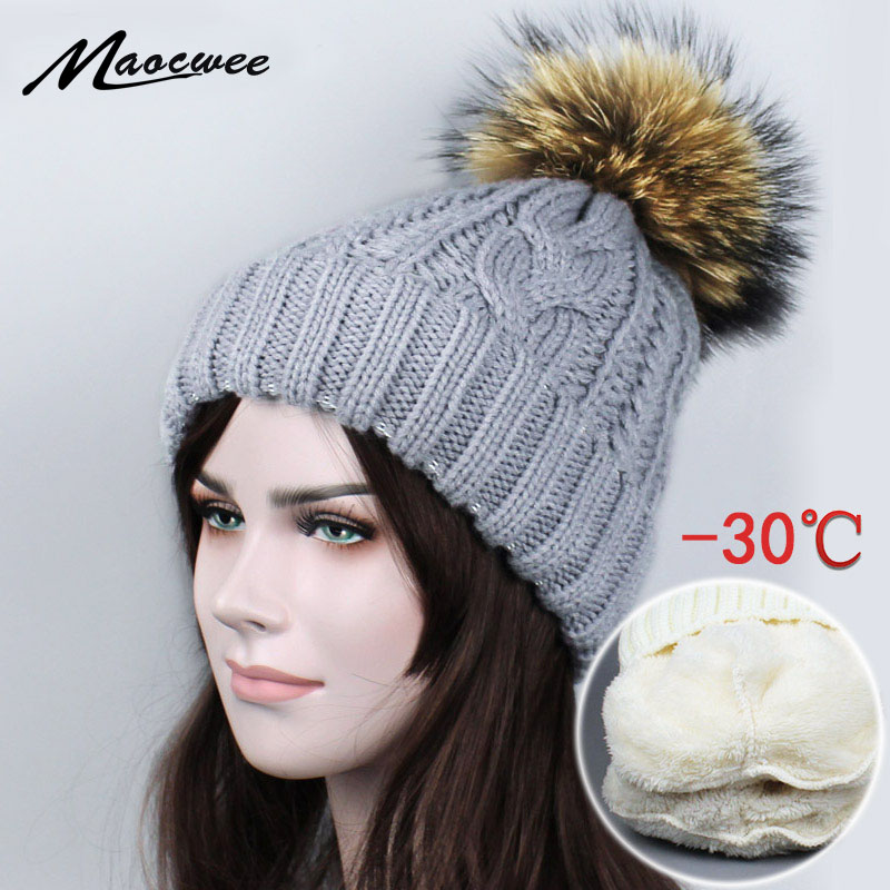 New Real Raccoon Fur Pom Pom Warm Hat Female Knitted Winter Hats for Girls Thick Gravity Falls Women's Cap   Skullies     Beanies