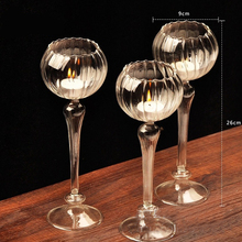 Романтический декор стеклянный подсвечник светильник Кубок Цветок Мода