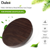 YA002 10W Walnut Wood Wireless Fast Charger Qi Wireless Charging Pad For IPhone 8 7 Plus