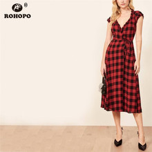 ROHOPO Black & Red Plaid Midi Dress Gathered Butterfly Short Sleeve Chic Female Slim High Waist Elegant Dress #YY046H
