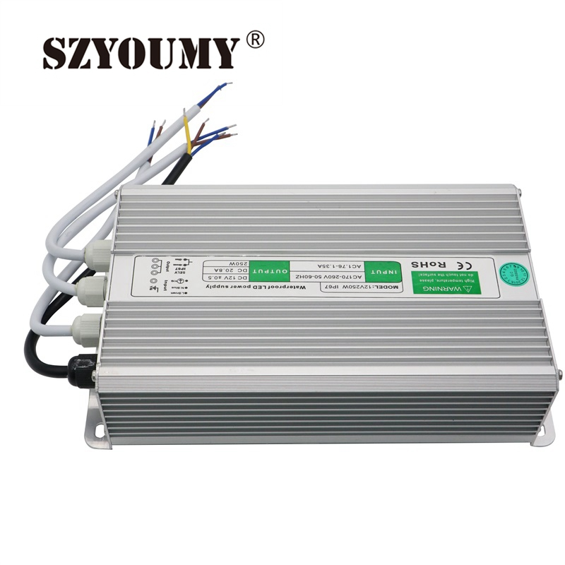 SZYOUMY  12V 20.8A 250W Waterproof Electronic Driver Transformer Power Supply For LED Light Strip Switch hot 12v 50a 600w 100 264v electronic transformer high quality safy led current driver for led strip 3528 5050 power supply