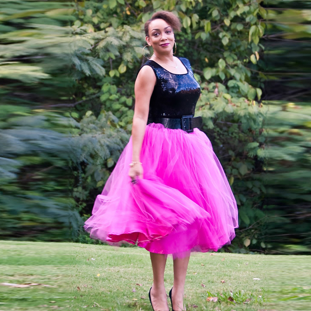 f4c9b4ab81 Summer Boho Fuchsia Color Mid Calf Tulle Skirts For Women 2017 Fashion Adult  DIY Tutu Skirt Elastic Female Skirt Bottom