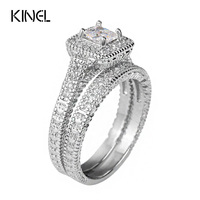 Kinel Sapphire 1 25ct Ring Sets Best Craft Princess Cut CZ With Micro Round CZ Paved
