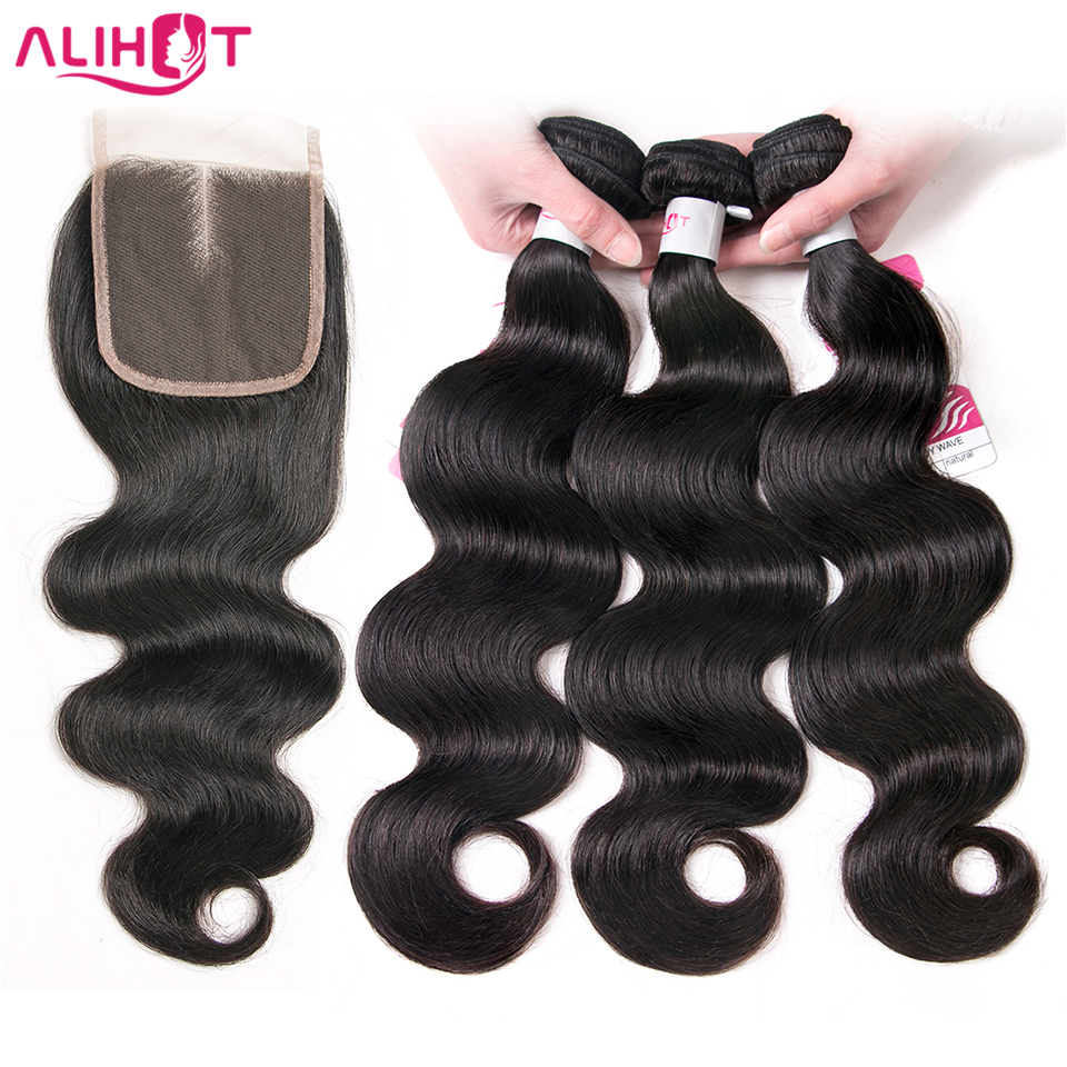 ALI HOT 3 Bundle Body Wave Human Hair Bundles With Closure Brazilian - Menneskehår (sort)