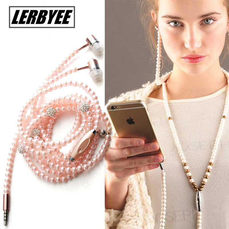 Lerbyee Pink Headset Rhinestone Jewelry Pearl Necklace Earphones 3.5mm With Microphone Earbuds For iphone/Xiaomi Brithday Gift цена и фото