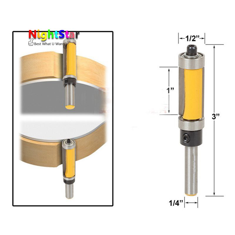 1/2 Shank Pattern/Flush Trim Router Bit 2-1/2 Cutter Top & Bottom Bearing Woodworking Milling Cutter Polishing Head Tool 1 2 5 8 round nose bit for wood slotting milling cutters woodworking router bits