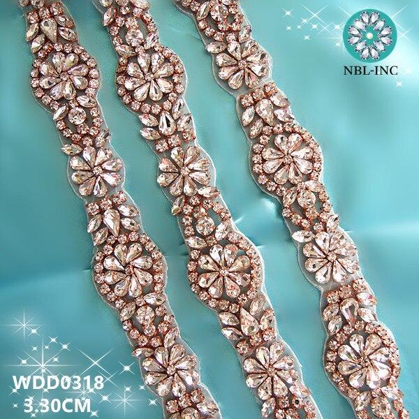 ღ Ƹ̵̡Ӝ̵̨̄Ʒ ღ(10 yards)Wholesale iron on bridal beaded rose gold ...