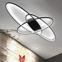 Белый/черный Светодиодная лампа Современная светодиодный Потолочные светильники для гостиной спальня кабинет дома деко удаленного мерцаю