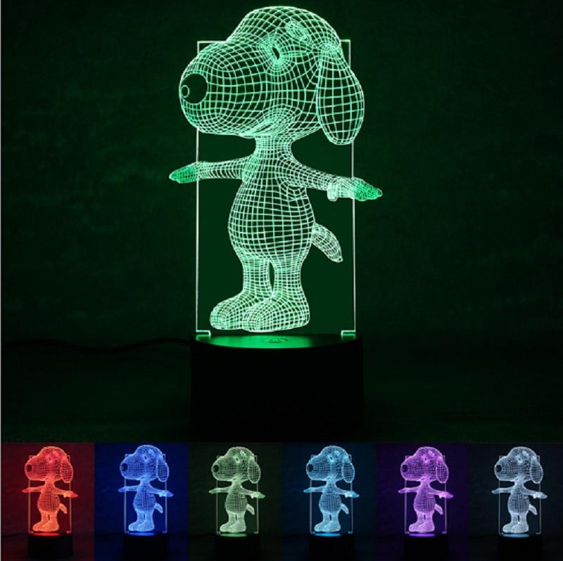 Novelty 3D Visual LED Night Light Cute Dog 3D LED Night Lamp 7 Colors Changing Led Light Home Decor Lamp For Children's Room
