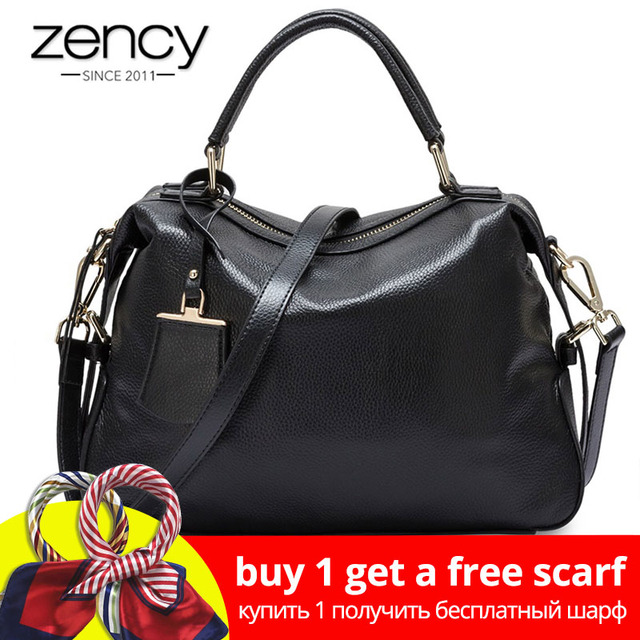 319e7108c3787a Zency Fashion Women Tote Bag 100% Genuine Leather Handbags Female Boston  Charm Messenger Crossbody Purse Luxury Shoulder Bags-in Top-Handle Bags  from ...