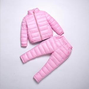 Image 3 - Liligirl 키즈 다운 코튼 스포츠웨어 의류 세트 소년 소녀 겨울 다운 재킷 + 바지 오버올 정장 2018 new baby snowsuit