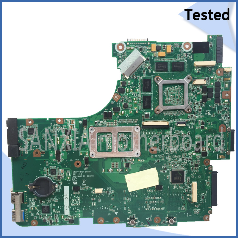 SHELI original N53SV laptop motherboard for ASUS N53SV N53S N53SN N53SM motherboard tested mainboard HM65 100% work free shipping new original n53s n53sv laptop motherboard main board mainboard rev 2 2 usb 3 0 n12p gt a1 100