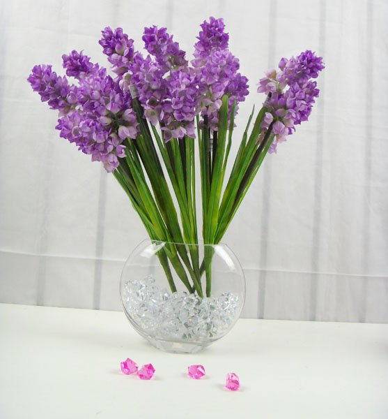 Simulation 3 Flower Heads Purple Hyacinth Bouquet Artificial Flowers ...
