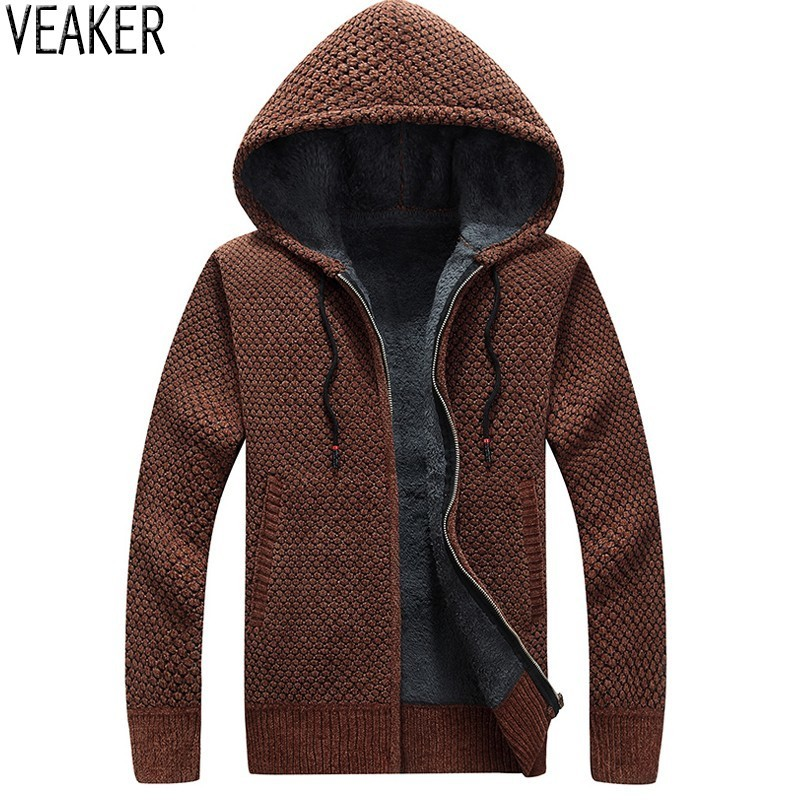 2018 Autumn New Men's Hooded Sweater coat Winter Thick Sweaters Jacket Male Solid Color Slim Fit Wool Fur Sweater Outerwear 3XL