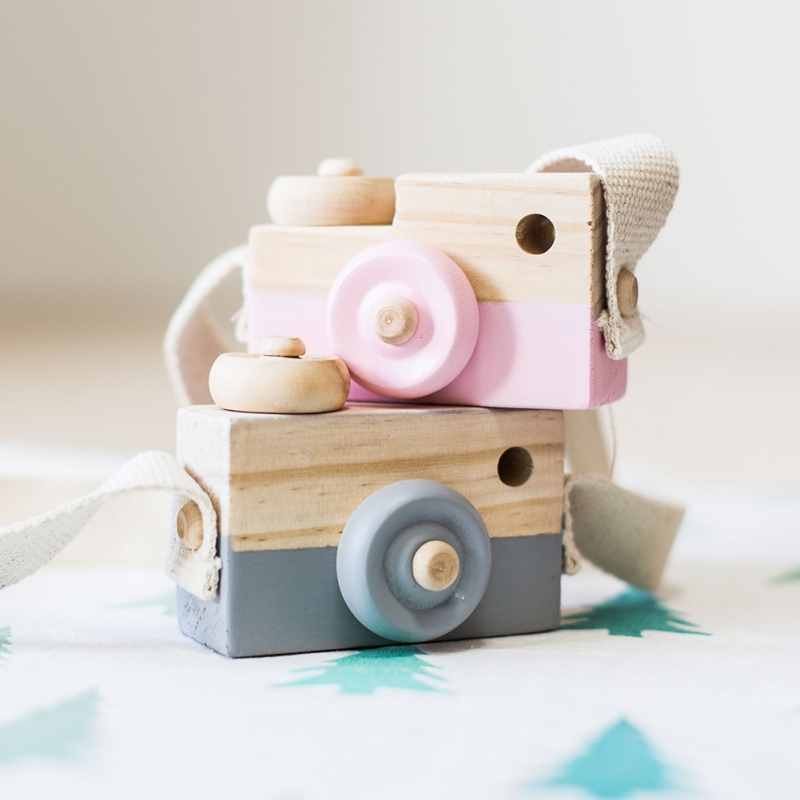 Baby Kids Cute Camera Toys Wooden Hanging Children Fashion Clothing Accessory Safe Natural Toys Birthday Gift photo props