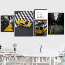 Wall Art Canvas Painting New York Vintage Yellow Tram Taxi Nordic Posters And Prints Pictures For Living Room