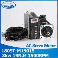 High power 3.0kw cnc servo motor kits 180ST M19015 19N.M 3000w servo motor matched servo drive synchronous motor NEW