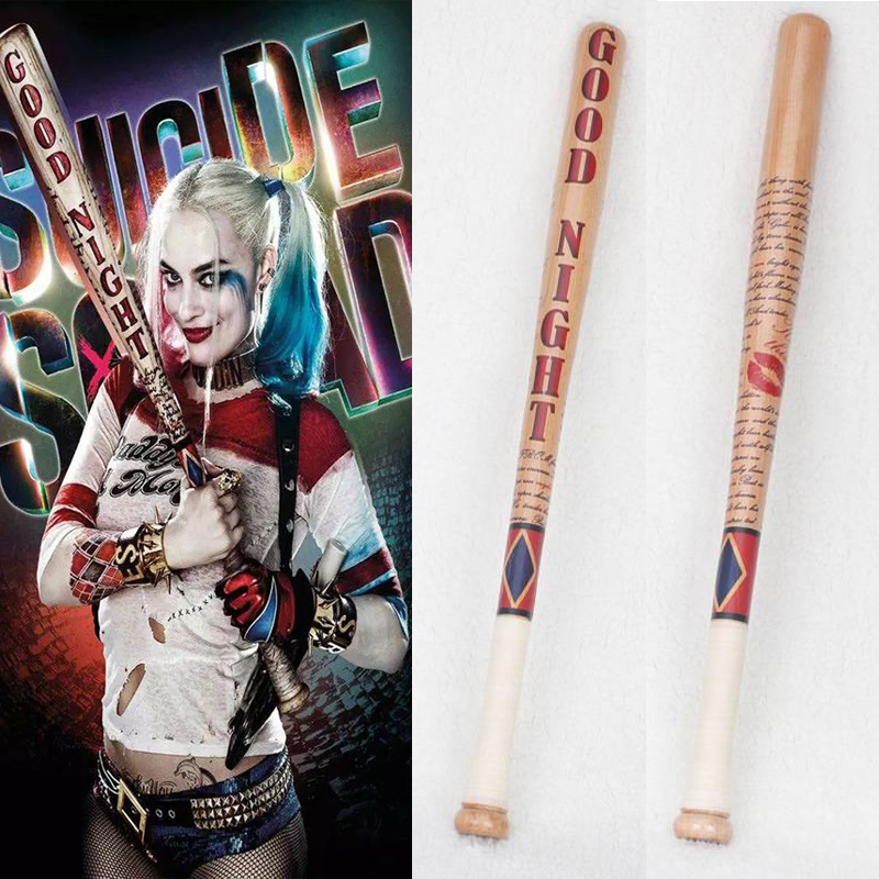 Batman Arkham Asylum City Suicide Squad Harley Quinn Weapon Costume Cosplay Original Edition Solid Wood Quinn Baseball Bat Wig