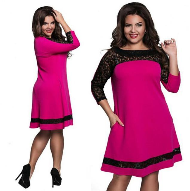 5XL 6XL Dresses large sizes women lace dress patchwork pink navy purple  plus size short party dress autumn big women clothing-in Dresses from  Women\'s ...