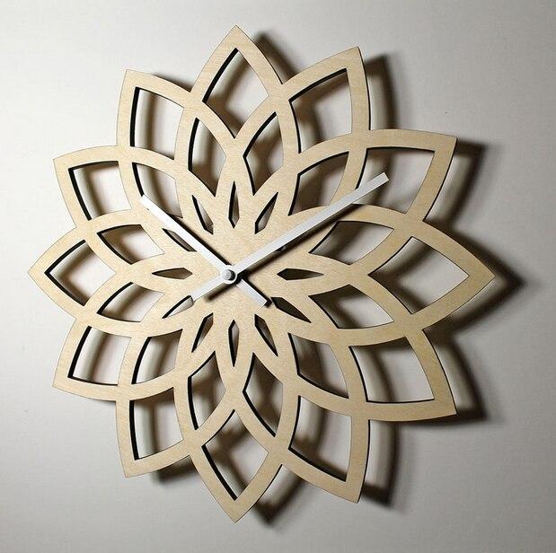 021263 natürliche pfirsich holz lotus moderne wanduhr mode kreative blume wand log supe quarzuhr uhr stumm