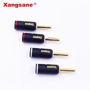 Image 3 - Xangsane 4 pièces haute Performance pur rouge cuivre plaqué or banane serrure prise HiFi haut parleur banane connecteurs