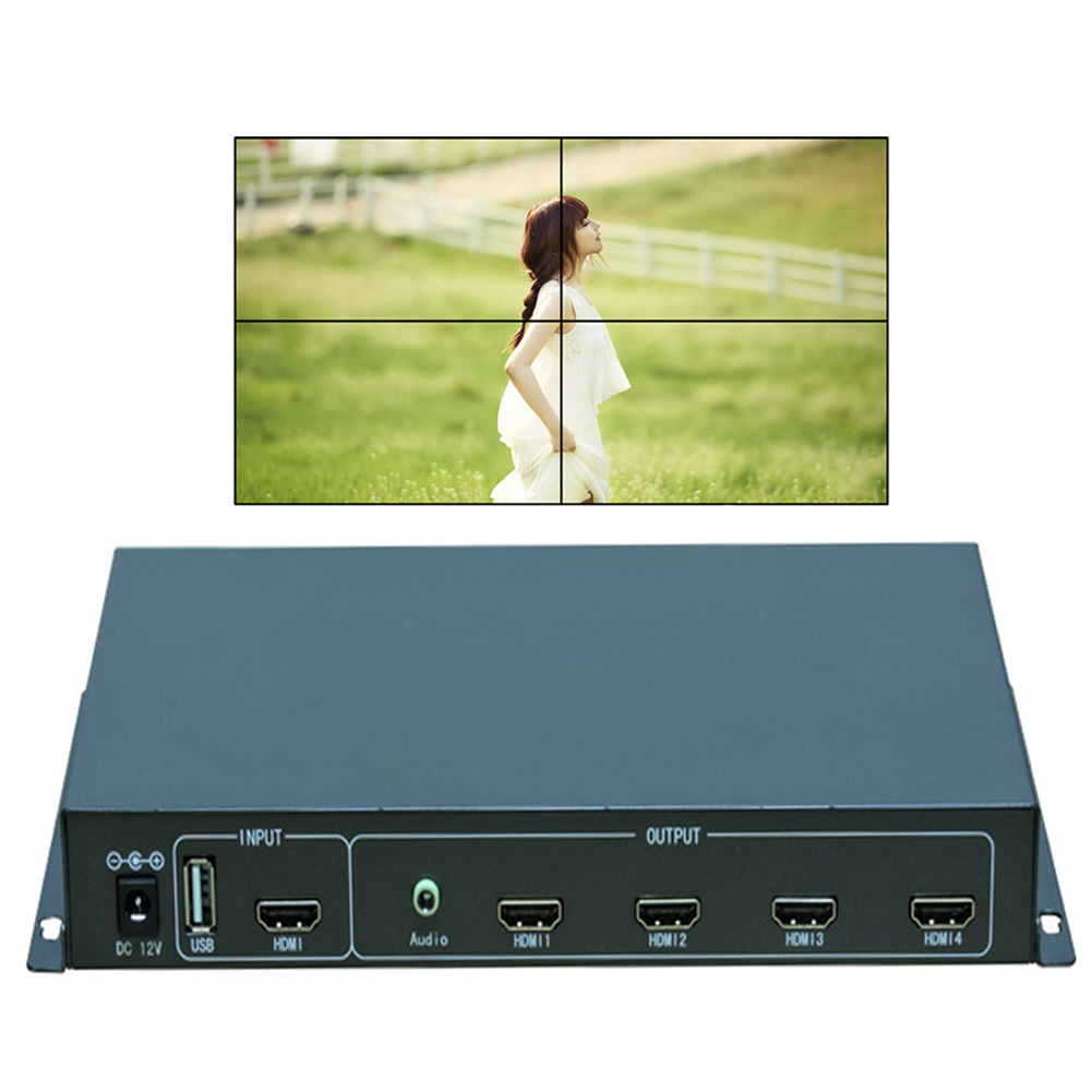 2X2 HDMI Video Wall Controller with Remote Control for 4 LCD TV,TV wall processor splitter HDMI&USB inputs to 4 HDMI outputs