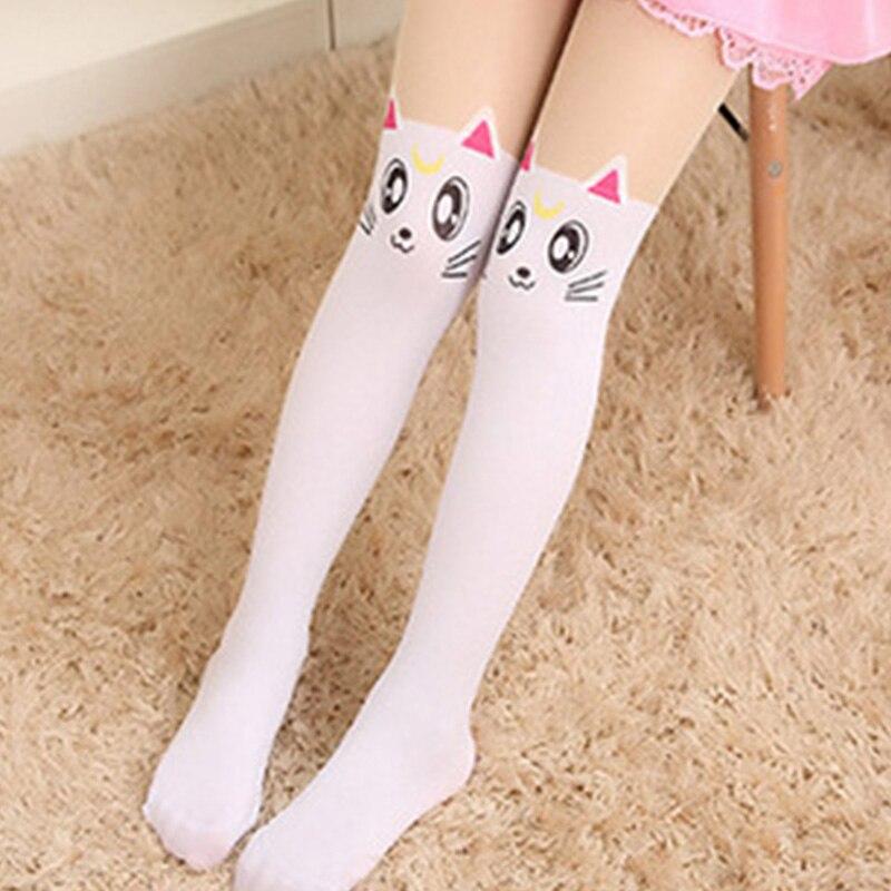 Baby Cute Pantyhose Kids tights Knee Fake Velvet Stocking White Cartoon cat Children's Princess Girl Tights Stockings Tights 4
